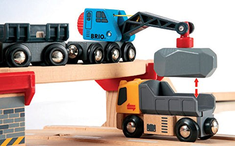 Image of BRIO World 33210 - Rail & Road Loading Set - 32 Piece Wooden Toy Train Set for Kids Age 3 and Up