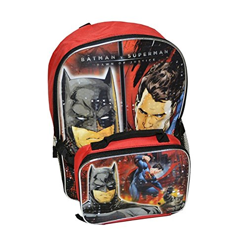 DC Comics Batman V Superman Boys Large Backpack With Lunch Box (One size, Red/Black)