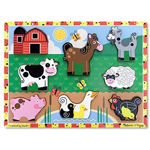 Farm Wooden Chunky Puzzle (8 pcs) with Safari Wooden Chunky Puzzle (8 pcs)