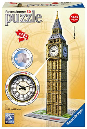 Ravensburger Big Ben 216 Piece 3D Jigsaw Puzzle Includes Real Working Clock for Kids and Adults - Easy Click Technology Means Pieces Fit Together Perfectly