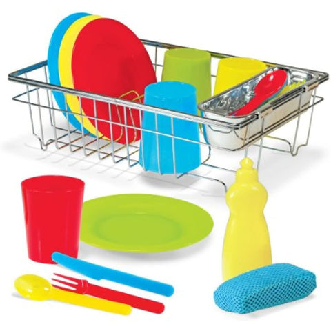 Image of Melissa & Doug Stainless Steel Pots and Pans and Let's Play House! Wash and Dry Dish Set