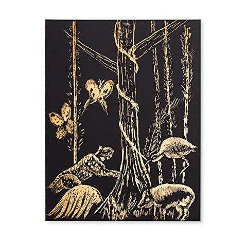 Image of Melissa & Doug Scratch Art Scratchboard - 10-Pack, Shimmering Gold on Black Background