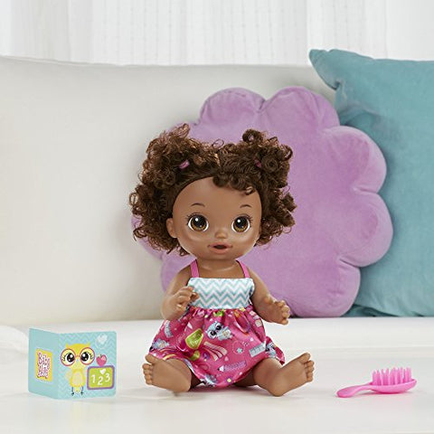Image of BABY ALIVE READY FOR SCHOOL BABY: Baby Doll with Black Curly Hair, School-Themed Dress, Doll Accessories Include Notebook & Brush, Doll For 3-Year-Old Girls and Boys and Up