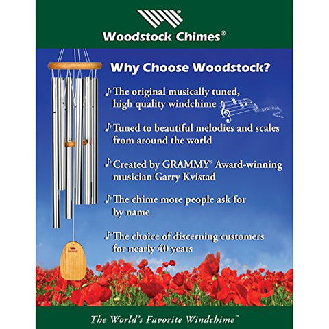 Woodstock Chimes BPMAS The Original Guaranteed Musically Tuned 32-Inch Bells of Paradise Wind Chime, Antique Silver