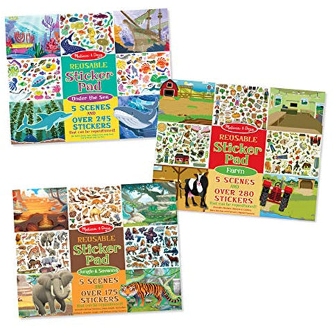 Melissa & Doug Puffy Sticker/Sticker Pad Set 6-pack - Farm/Safari/Chipmunk/Jungle/Farm/Under The Sea