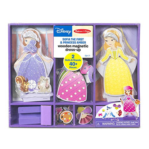 Image of Melissa & Doug Disney Sofia the First and Princess Amber Magnetic Dress-Up Wooden Doll Pretend Play Set (40+ pcs)