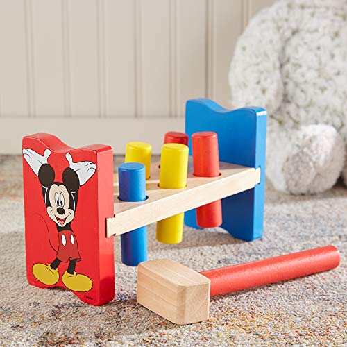 Melissa & Doug Disney Mickey Mouse Clubhouse Wooden Pound-a-Peg Toy With 6 Pegs and 1 Mallet