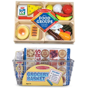 3 Item Bundle: Melissa & Doug 5171 Grocery Basket with Play Food and 271 Food Groups Wooden Play Food + Bonus Activity Book