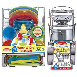 Melissa & Doug Stainless Steel Pots and Pans and Let's Play House! Wash and Dry Dish Set