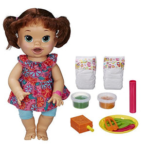 Baby Alive Super Snacks Snackin Sara Brunette, Dress color may vary