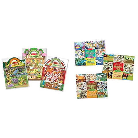 Image of Melissa & Doug Puffy Sticker/Sticker Pad Set 6-pack - Farm/Safari/Chipmunk/Jungle/Farm/Under The Sea