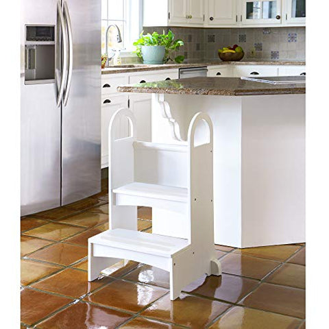 Image of Guidecraft Kitchen Helper High-Rise Step-Up - White: Kids Step Stool with Handles - Quality Wood Learning Furniture for Children