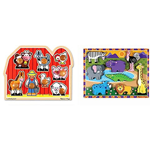 Melissa & Doug Farm Animals Jumbo Knob Wooden Puzzle & Safari Chunky Puzzle