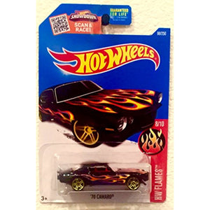 '70 Camaro Hot Wheels 2016 HW Flames Series #8/10 1:64 Scale Collectible Die Cast Metal Toy Car Model #98/250 on International Card