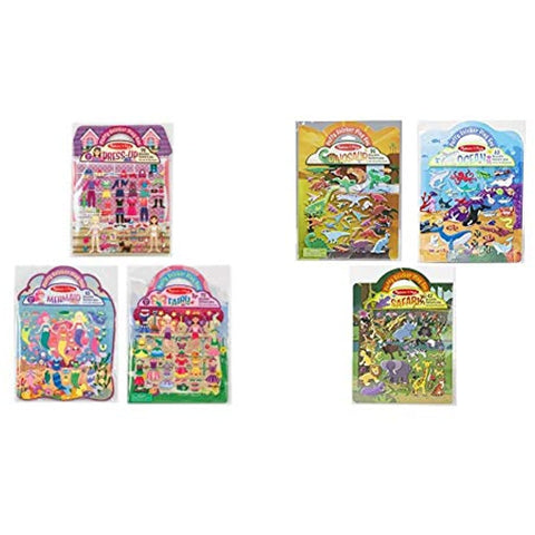 Image of Melissa & Doug Puffy Sticker Set 6-pack - Fairy/Dress-Up/Mermaid/Safari/Dinosaur/Ocean