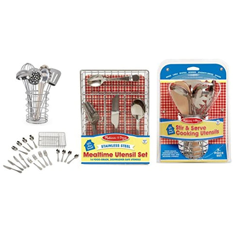 Melissa & Doug Let's Play House! Bundle - 2 Items: Mealtime Utensil Set and Stir & Serve Cooking Utensils