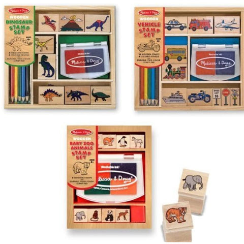 4 Item Bundle: Melissa & Doug Baby Zoo Animals Stamps + Vehicles Stamps + Dinosaur Stamps + Free Gift