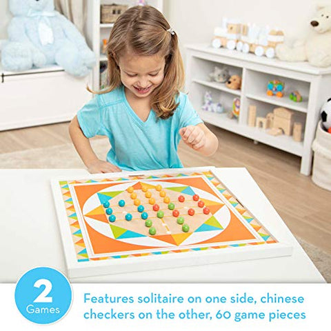 Image of Melissa & Doug Double-Sided Wooden Solitaire & Chinese Checkers Board Game