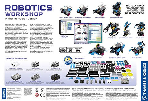 Image of Thames & Kosmos Robotics Workshop Model Building & Science Experiment Kit | Build & Program 10 Robots with Ultrasonic Sensors | Program & Control with App for iOS & Android