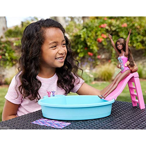 Image of Barbie Doll and Playset - Pool - One Doll Included