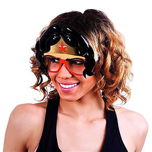 Sunstaches DC Comics Wonder Woman with Hair Sunglasses, Party Favors, UV400