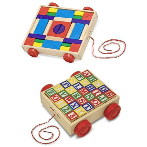 3 Item Bundle: Melissa and Doug 1169 Classic ABC Block Cart and 4209 Unit Blocks on Wheels + Activity Book