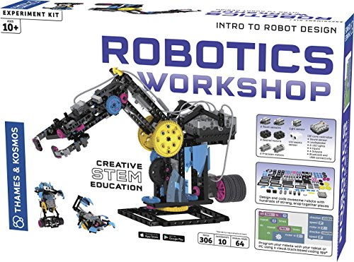Thames & Kosmos Robotics Workshop Model Building & Science Experiment Kit | Build & Program 10 Robots with Ultrasonic Sensors | Program & Control with App for iOS & Android