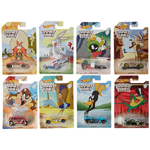 2017 Hot Wheels Looney Tunes Complete Set Of 8 Bugs Bunny,Daffy Duck,Road Runner,Tasmanian Devil,Yosemite Sam,Wile E Coyote,Marvin The Martian,Michigan J Frog