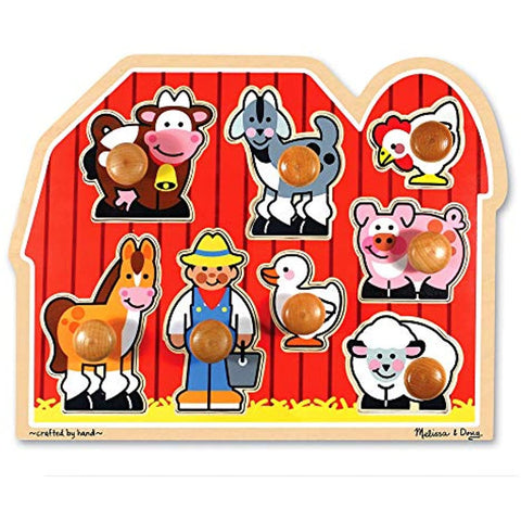 Image of Melissa & Doug Farm Animals Jumbo Knob Wooden Puzzle & Safari Chunky Puzzle