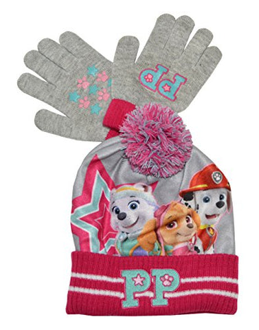 Paw Patrol Best Pups 2 Piece Knit Hat & Glove Set (One size, Pink)