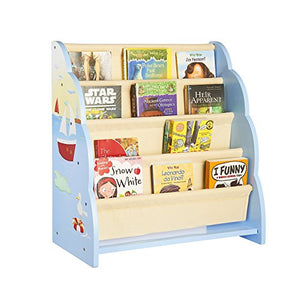 Guidecraft Wood Hand-Painted Sailing Book Display - Themed Sling Bookshelf, Kids Furniture Book Rack
