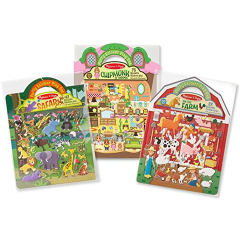 Image of Melissa & Doug Puffy Sticker Set 6-Pack - Farm/Safari/Chipmunk/Dress-Up/Princess/Mermaid