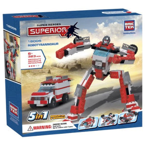 2 Item Bundle: Brictek Heroes 5-in-1 Robotyrannoaur 323 Pcs Building Kit + FREE Melissa & Doug Scratch Art Mini-Pad Bundle
