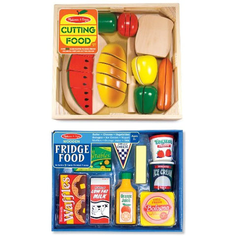 3 Item Bundle: Melissa & Doug Wooden Food Slicing + Fridge Food Set MD487/4076 + Coloring Activity Book by Melissa & Doug