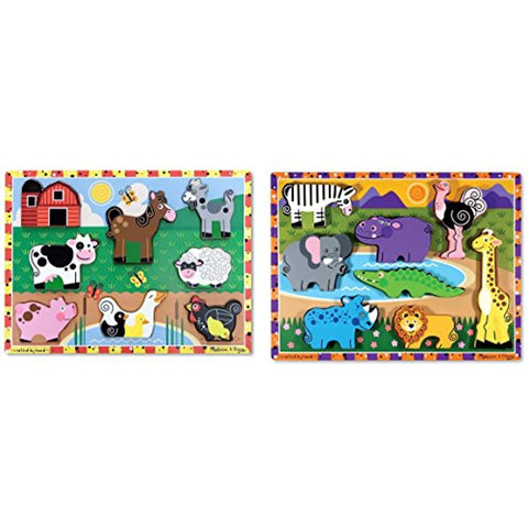 Image of Farm Wooden Chunky Puzzle (8 pcs) with Safari Wooden Chunky Puzzle (8 pcs)