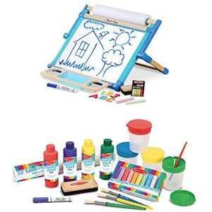 Melissa & Doug Bundle Includes 2 Items Double-Sided Magnetic Tabletop Art Easel - Dry-Erase Board and Chalkboard Easel Accessory Set - Paint, Cups, Brushes, Chalk