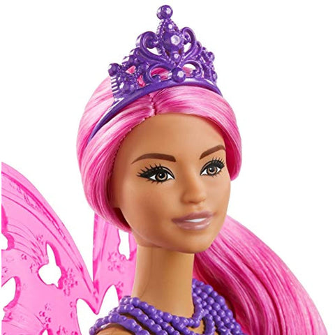 Image of Barbie Dreamtopia Fairy Doll, 12-Inch, with Pink and Blue Jewel Theme, Pink Hair and Wings, Gift for 3 to 7 Year Olds, Multi