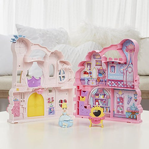 Image of Disney Princess Little Kingdom Play n Carry Castle - Triple Functions as Magical Playset, Carrier, and Storage - Includes Carrying Case, Cinderella Doll, and Accessories