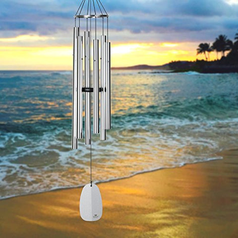 Woodstock Chimes BPLS The Original Guaranteed Musically Tuned Chime Large Bells of Paradise, 44-Inch, Silver