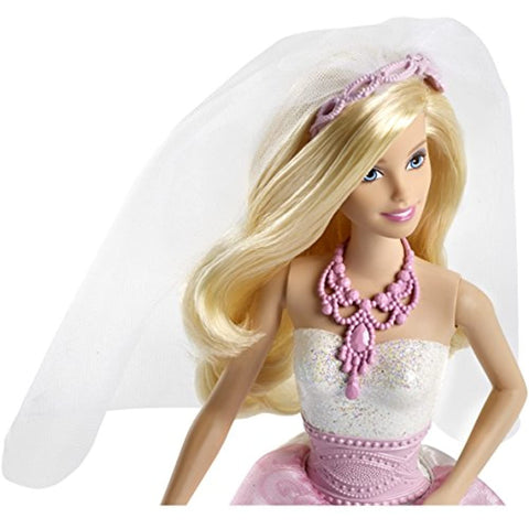 Image of Barbie Bride Doll in White and Pink Dress with Veil and Bouquet