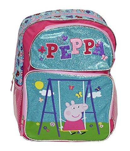 Peppa Pig - Swine on A Swing Girls 16 Backpack (One size, Light Blue/Pink)