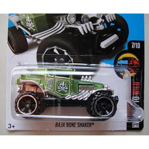 2016 HOT WHEELS HW MILD TO WILD 7/10 GREEN BAJA BONE SHAKER 62/250 SHOWDOWN SCAN AND RACE CARD