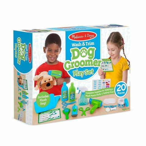 Melissa & Doug Animal Care Activity Center & Wash & Trim Dog Groomer Play Set with Plush Stuffed Animal Dog (20 pcs)