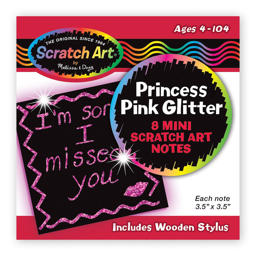 Melissa Doug Princess Pink Glitter Mini Scratch Art Notes in Display 5933