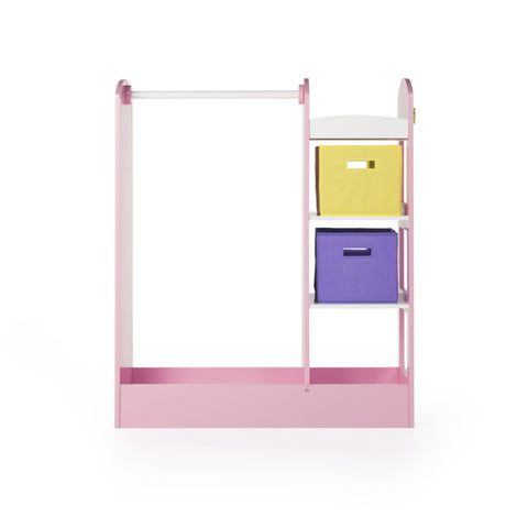 Guidecraft See and Store Dress-up Center  Pastel: Toddlers' Clothing Rack Wardrobe with Mirror & Shelves, Cubby Armoire with Bottom Tray - Kids Bedroom Furniture.