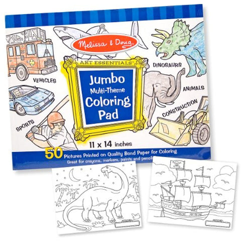 4 Item Bundle: Melissa & Doug 500 Count Blue Sticker Collection,Jumbo Coloring Pad,Truck Crayon Set + Free Activity Book