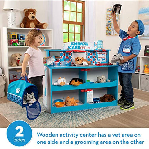 "Melissa & Doug Animal Care Veterinarian & Groomer Wooden Activity Center (Best for 3, 4, 5 Year Olds and Up) & Veterinarian Role-Play Costume Set, Pretend Play, 17.5"" H x 24"" W x 0.75"" L"