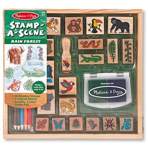 4 Item Bundle: Melissa and Doug Stamp a Scene 2423 Rain Forest, 2424 Fairy Garden, 8592 Farm Sets + Bonus Activity Book