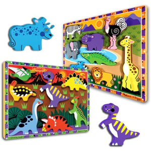 Chunky Puzzles Dinosaurs and Safari Animals