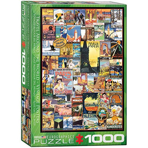 EuroGraphics Travel The World Vintage Ads Jigsaw Puzzle (1000 Piece)